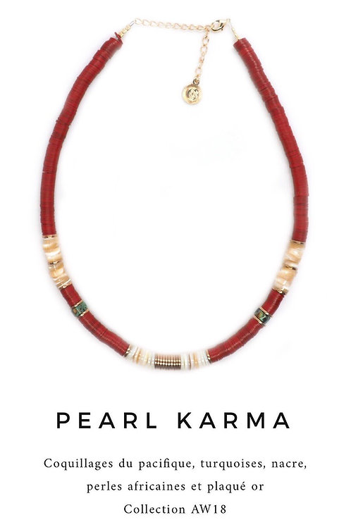 collier red nacre et turquoises Pearl Karma