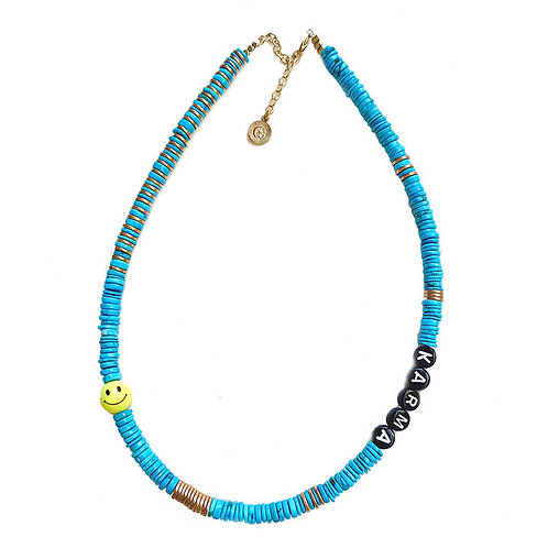 collier smiley turquoise pearl karma