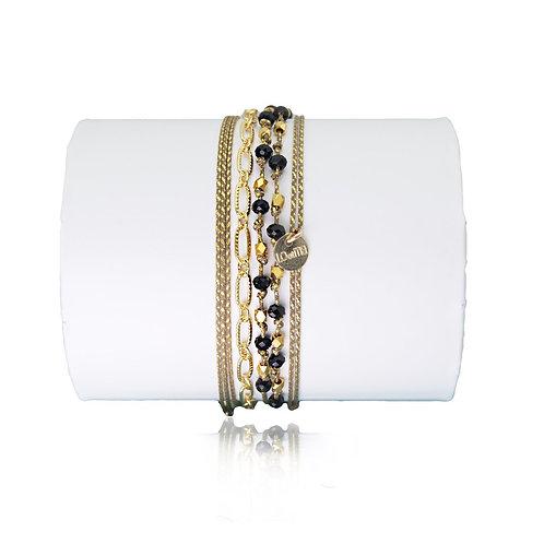 bracelet noir perles de cristal Loetma