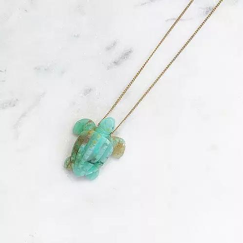 collier chaine turtle chrysoprase Pearl karma