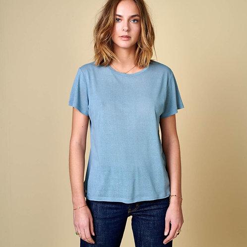 t-shirt en soie bleu bellerose