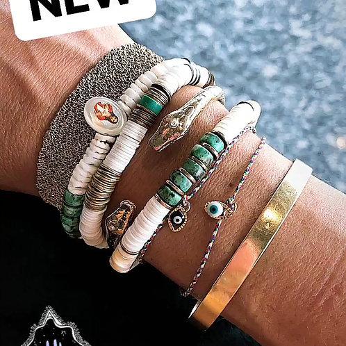 bracelet surfer white turquoises pearl karma