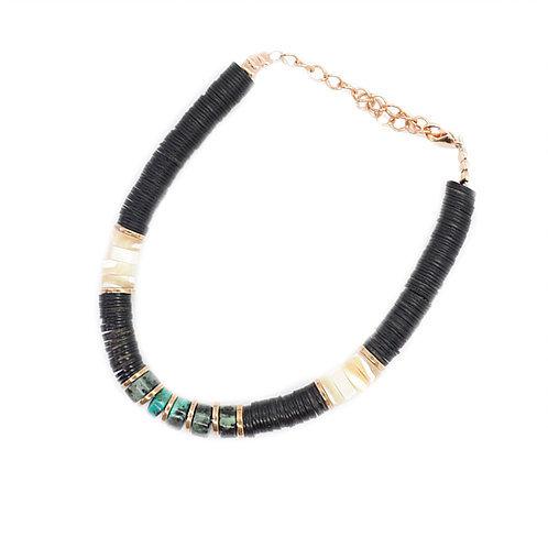 bracelet surfer black turquoises pearl karma