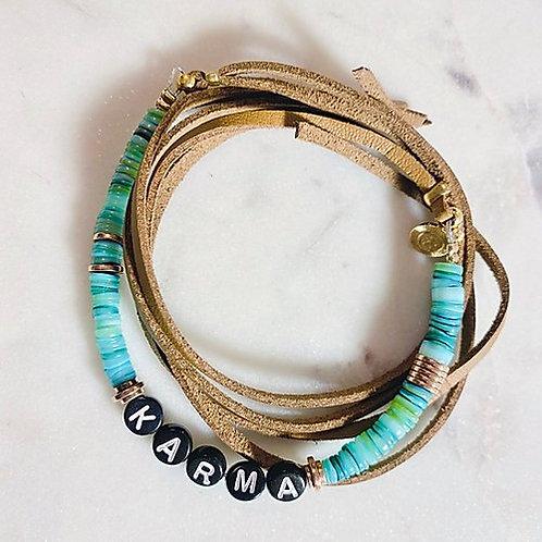 bracelet poignet / cheville turquoise Pearl Karma