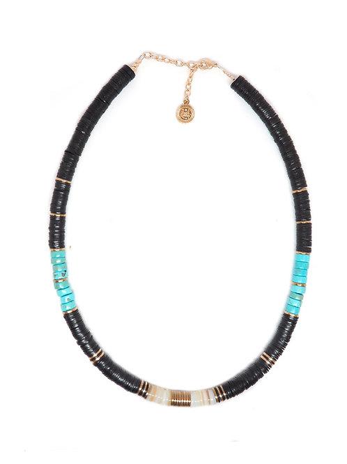 collier surfer black turquoises pearl karma
