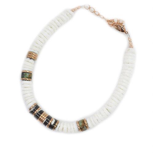 bracelet surfer white shell pearl karma