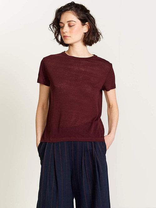 t-shirt en soie aubergine Bellerose
