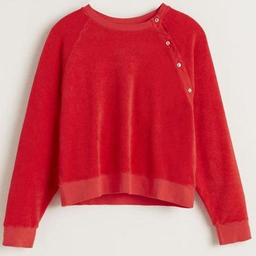sweat velours rouge bellerose