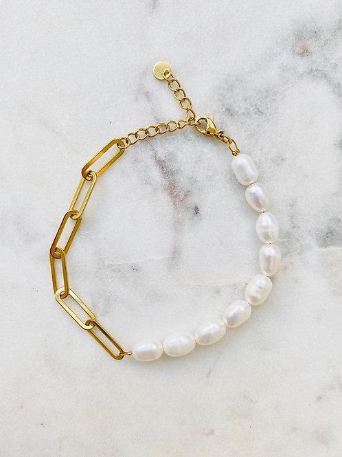 bracelet maille et perle gold