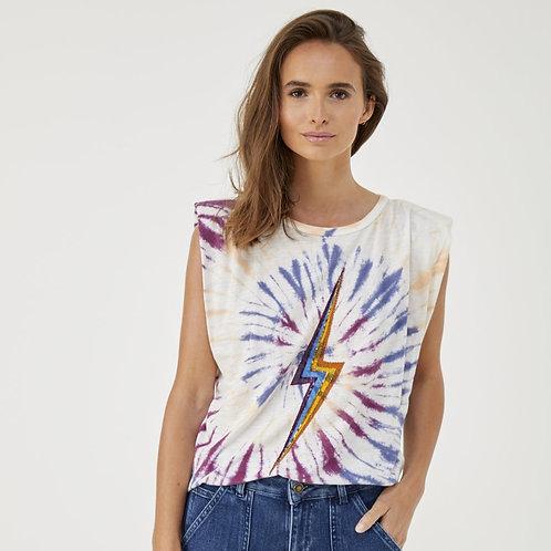 T-shirt éclair violet tie and dye Five jeans