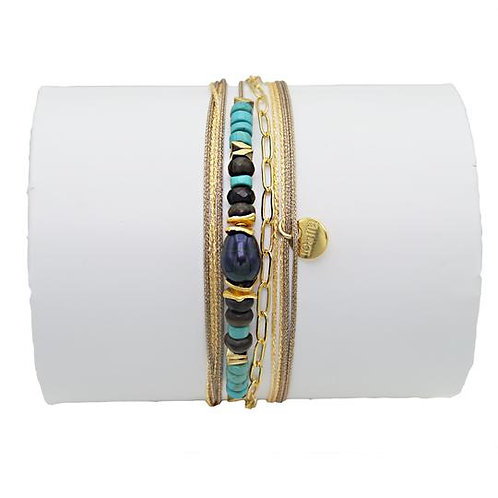bracelet perle de culture et turquoise Loetma