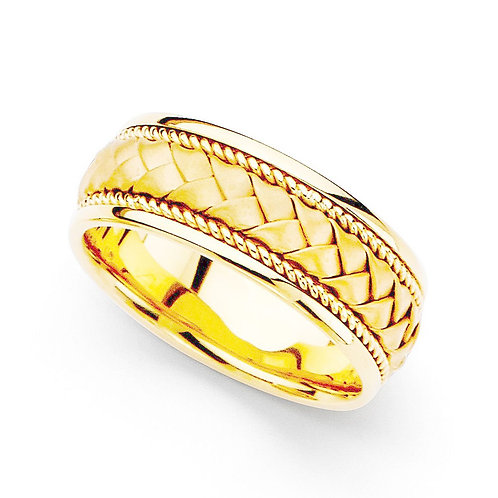 14k Gold Men's 8 mm Hand-braided Comfort-fit Wedding Band