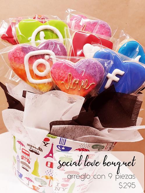 Social Love Bouquet Cookies 9 galletas decoradas