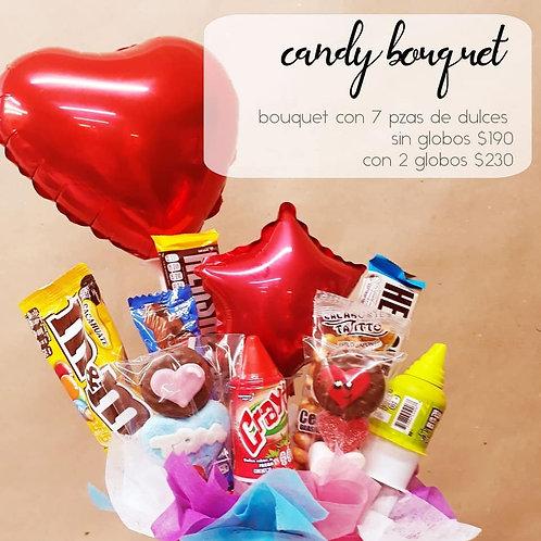 Candy Bouquet 7 piezas de dulces y dos globos