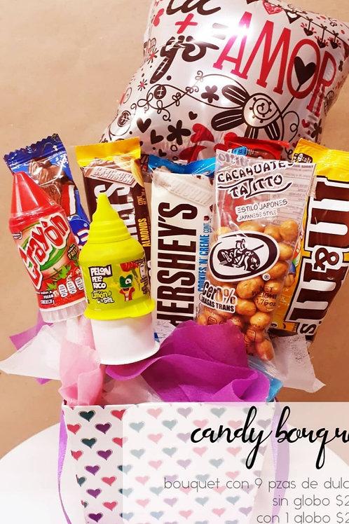 Candy Bouquet 9 piezas con globo mediano estampado
