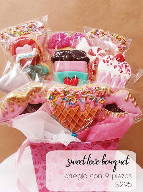 Sweet Love Bouquet Cookies 9 galletas decoradas