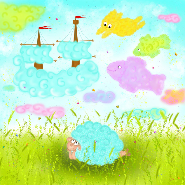Illustartion for the children's book about a little Lamb and his friend Clo