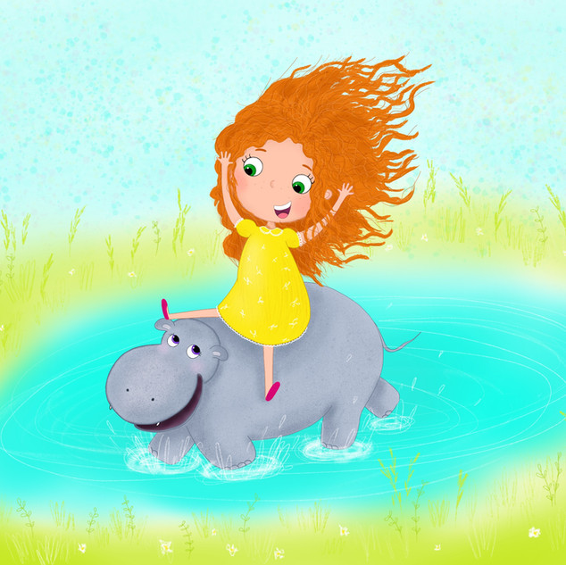 A girl and a hippo