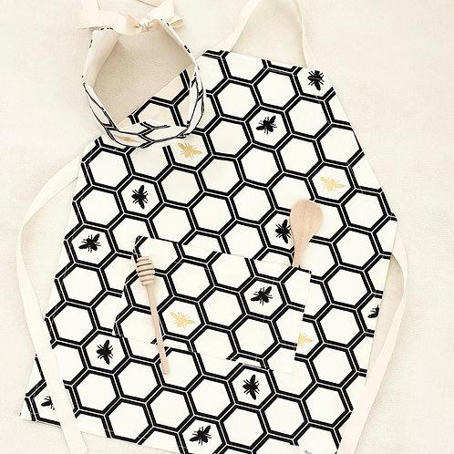 organic black beehive kitchen apron