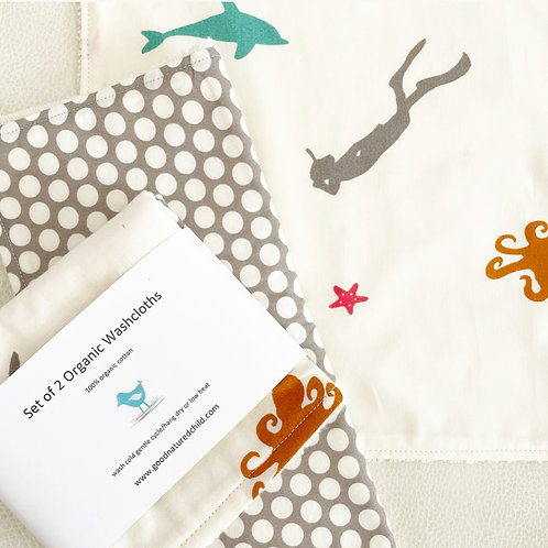 set of 2 organic under the sea and bubbles washcloths