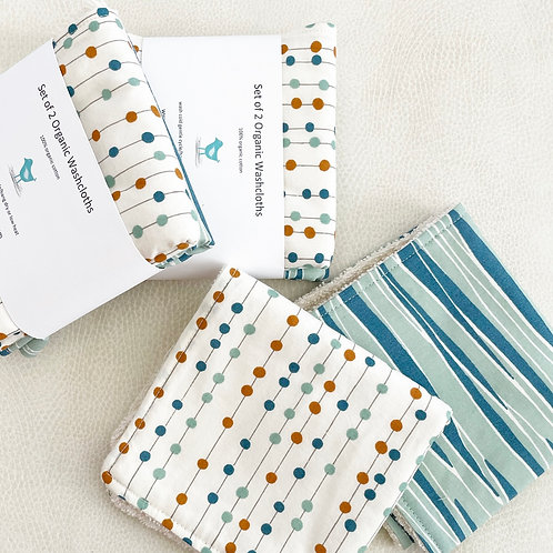 set of 2 organic bobbers and river washcloths