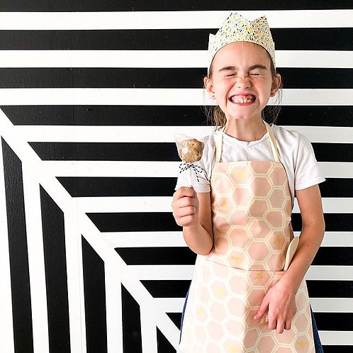 organic blush beehive kitchen apron