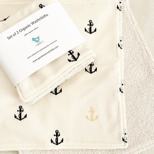 set of 2 organic anchor washcloths