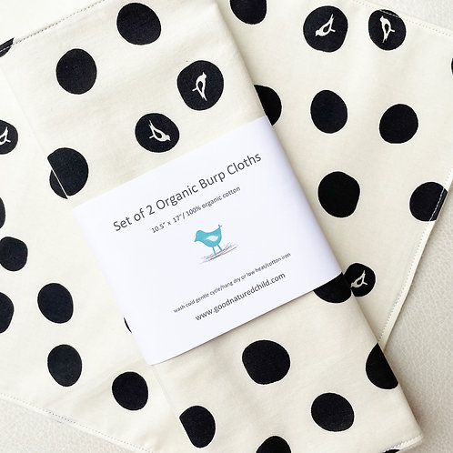 set of 2 oversized black bird dot burp cloths