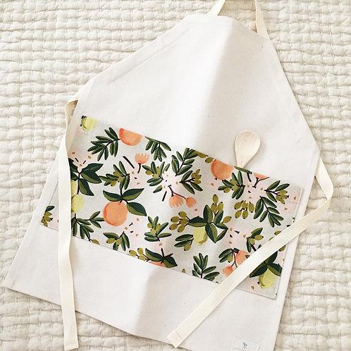 organic citrus floral gardening/chef apron