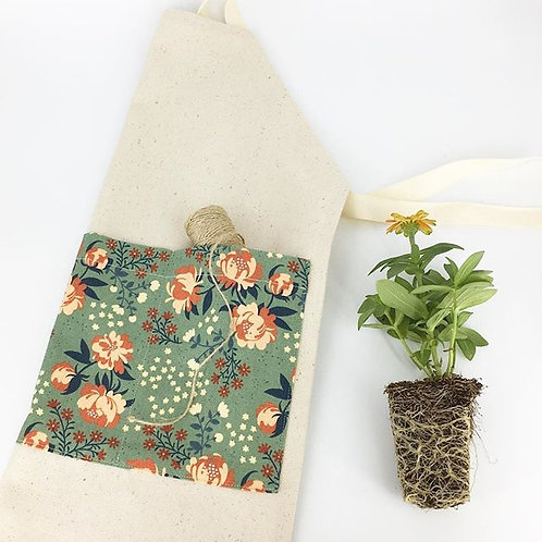 organic peonies gardening/chef apron