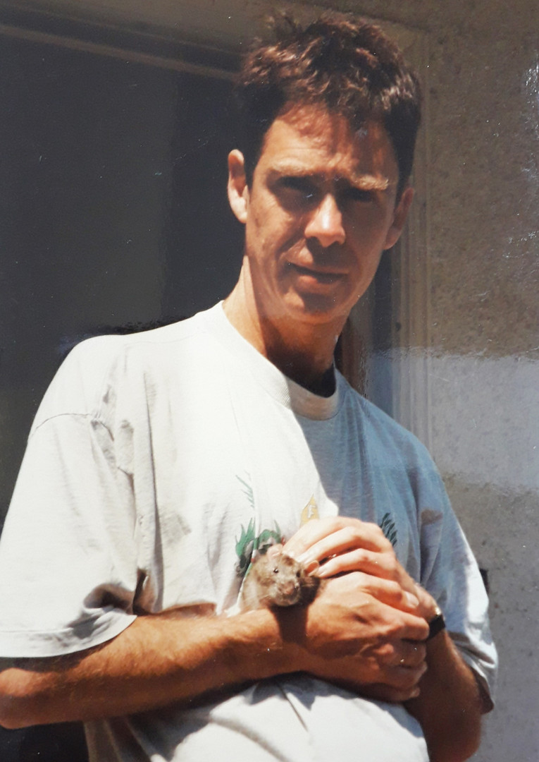 Hugh with pet rat in San Francisco
