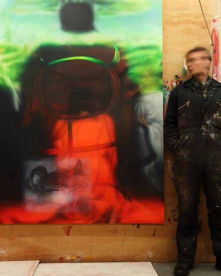 Performance Documentation Chris Burden Deadman, Oil on Canvas, 183 x 183 cm