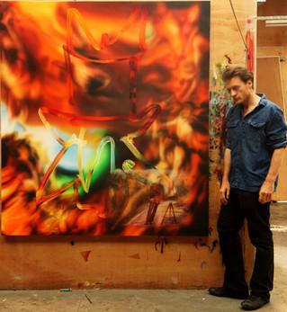 Performance Documentation Bas Jan Ader Fall, Oil on Canvas, 150 x 200 cm