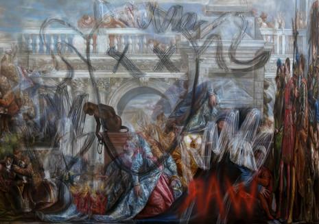 Neon Documentation Bruce Nauman Raw War. Oil on canvas 200 x 140 cm