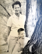 Hugh as a boy with his mother