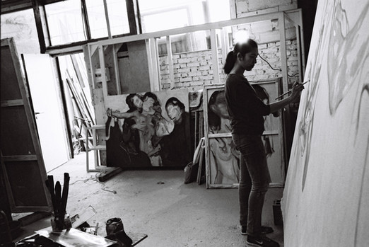 Ana in the studio
