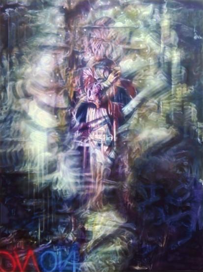 Neon Documentation Bruce Nauman No No, 2020, Oil on canvas, 120 x 160 cm