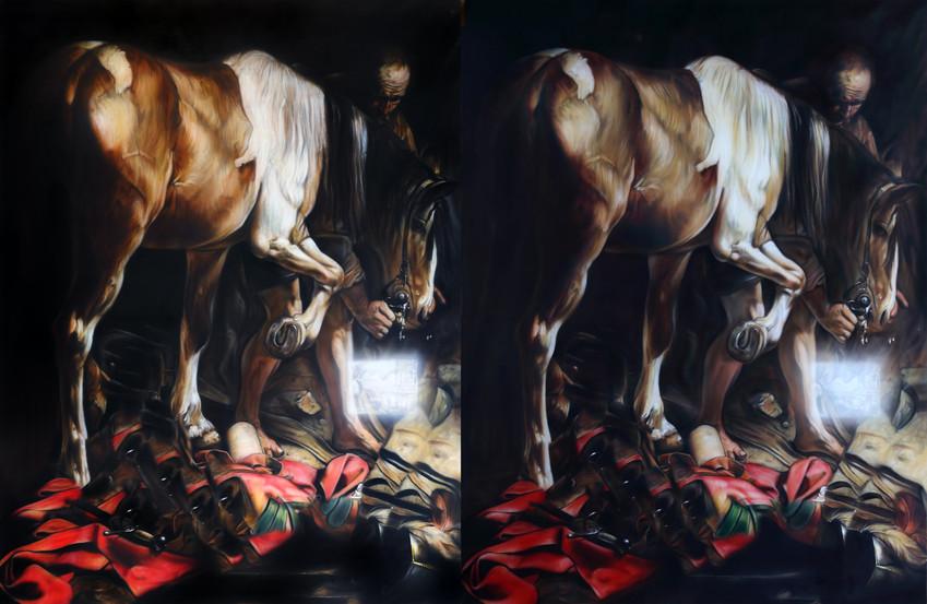 Documentation Bas Jan Ader Fall II, Dyptych, Oil on Canvas, 135 x 177 cm