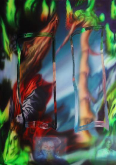 Video Documentation Nauman Good Boy Bad Boy, Oil on canvas, 140 x 200 cm