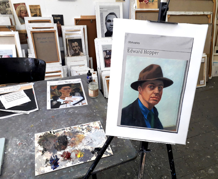 Studio with Edward Hopper painting