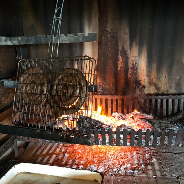 boerewors on fire
