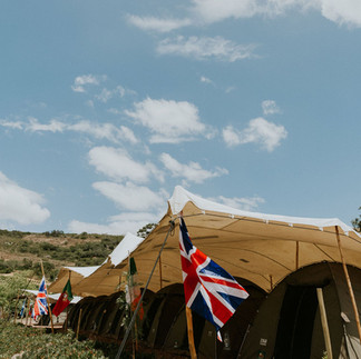 shaded safari tents