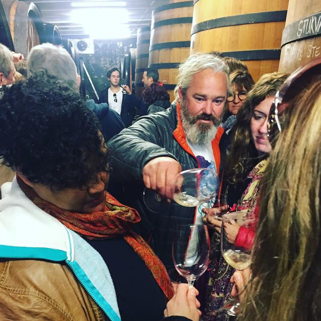 cellar barrel tasting with Adi