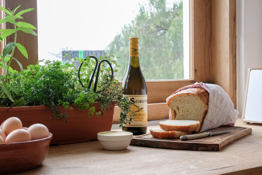 stables kitchen herbs wine bread eggs