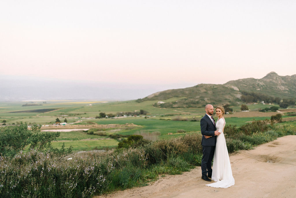 bridal couple on farm