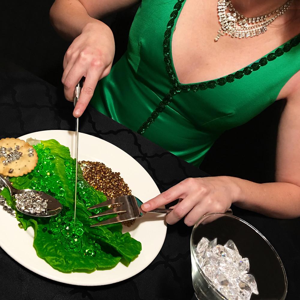Vintage emerald evening gown , vintage necklaces (Value Village) loose rhinestones vintage from New York