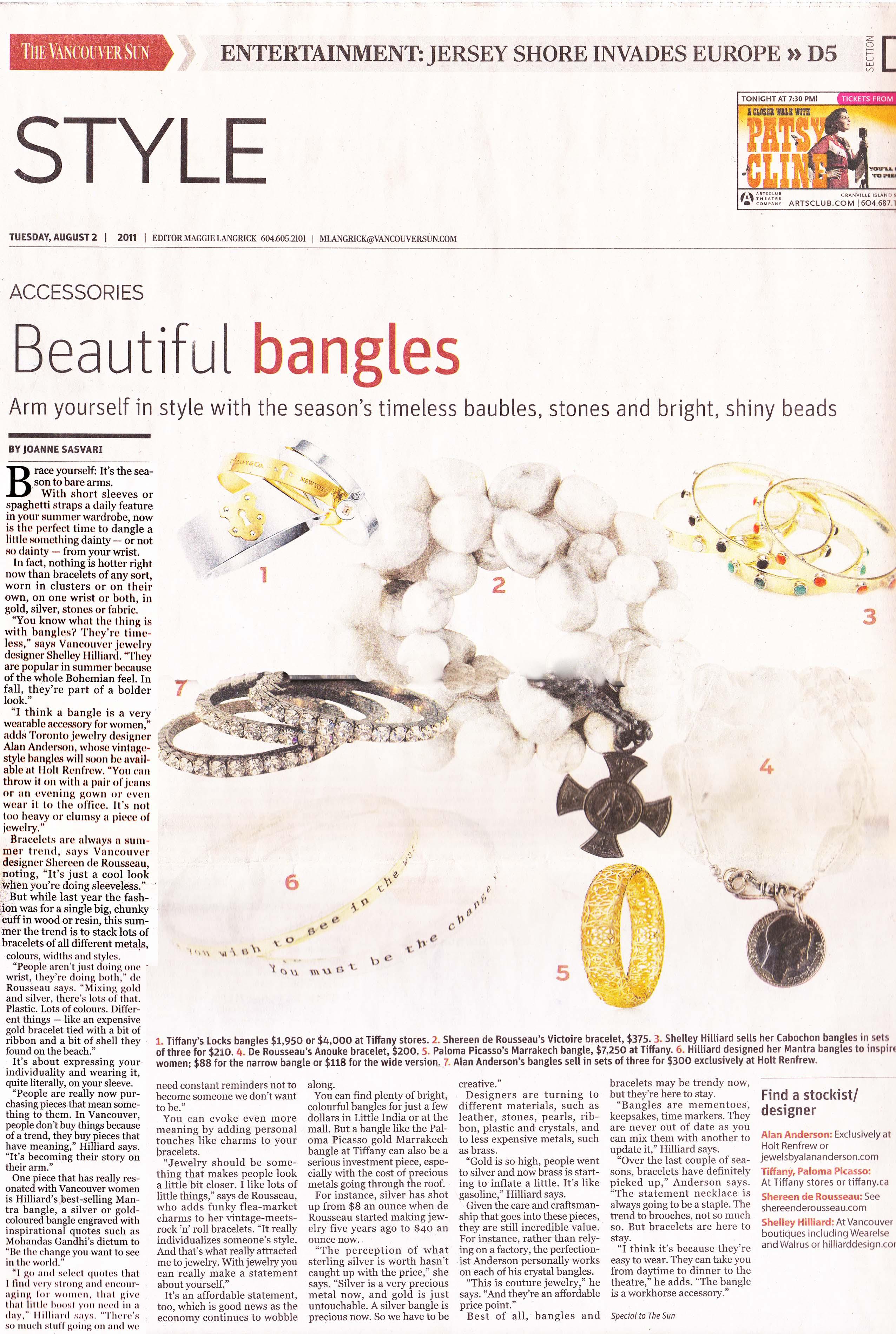Vancouver sun article 2011 bangles