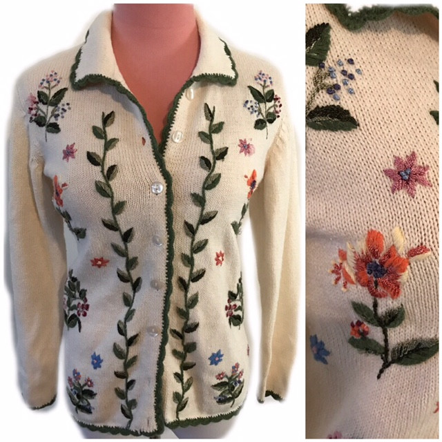 Pretty embroidered 60s cardigan