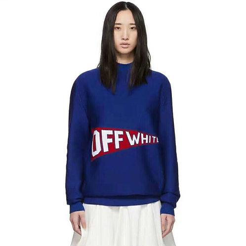[OFF WHITE ]#오프화이트 로고 블루 울니트 A14075370