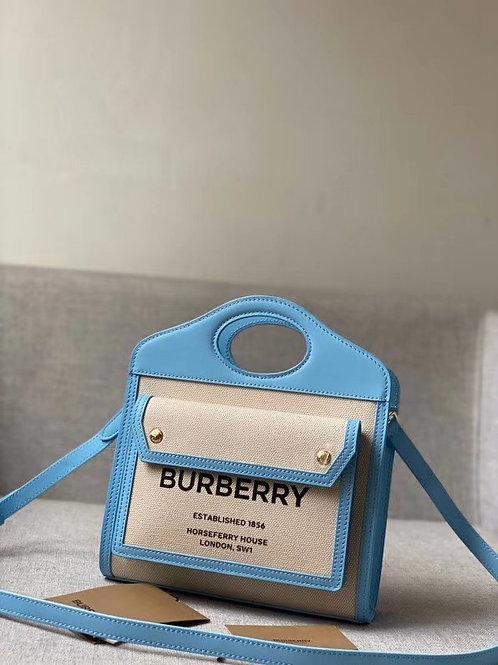 [Burberr*] #버버*80324061 미니 고로 그래픽 캔버스 레더 포켓 백 C08192140